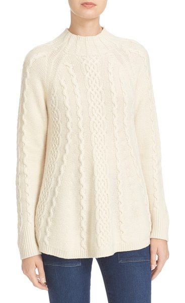 Rebecca Taylor cable knit swing pullover in ecru - Classic cable patterning textures a mock-neck sweater...