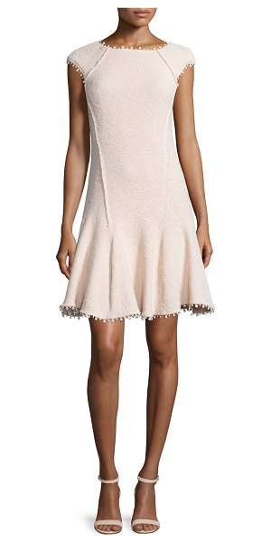 Rebecca Taylor Cap-sleeve boucle fit-and-flare dress in vanilla - Rebecca Taylor boucle dress with exterior seaming....