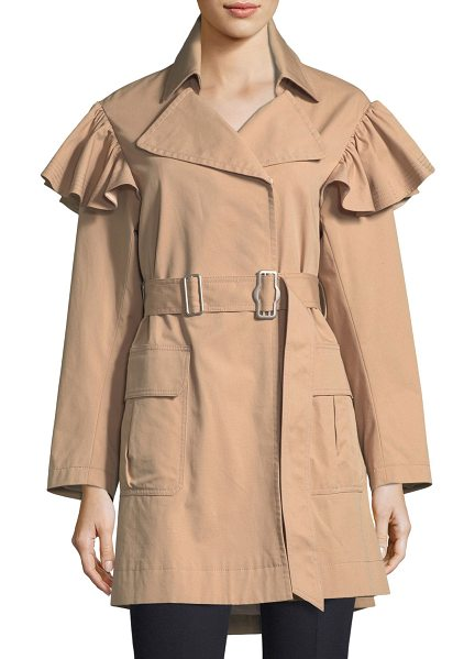 Rebecca Taylor Cotton-Faille Belted Trench Coat in neutral pattern - Rebecca Taylor trench coat in cotton-faille. Spread...