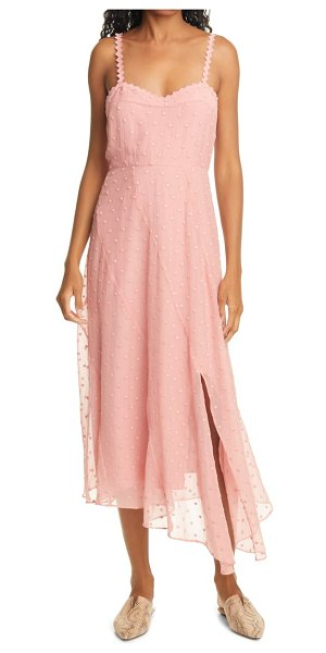 Rebecca Taylor dot embroidered crinkle chiffon maxi sundress in pink