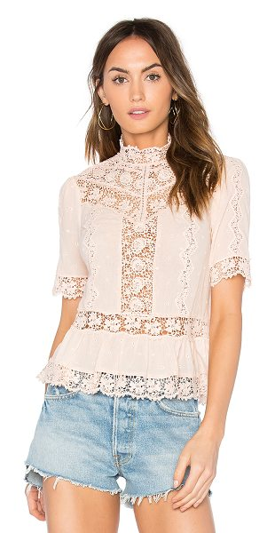 REBECCA TAYLOR Eyelet Mock Neck Top - 100% cotton. Dry clean only. Back button closures....