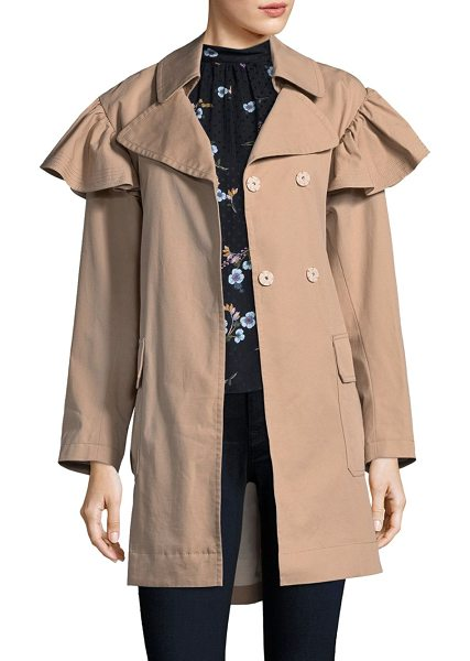 REBECCA TAYLOR faille belted trench coat - Cotton-blend trench coat with front button details....