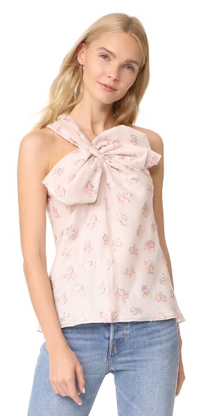 Rebecca Taylor floral jacquard bow top in cream - Metallic threads add sparkle to this one-shoulder...