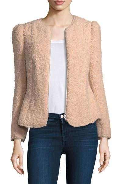 Rebecca Taylor fluffy tweed jacket in nude - Textured tweed jacket with tailored fit. Crewneck. Long...