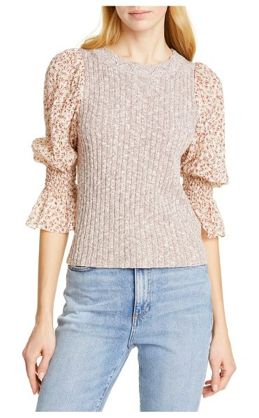 Rebecca Taylor francesca mix media cotton & linen blend sweater in brown - A heathered, ribbed sweater achieves a two-piece effect...
