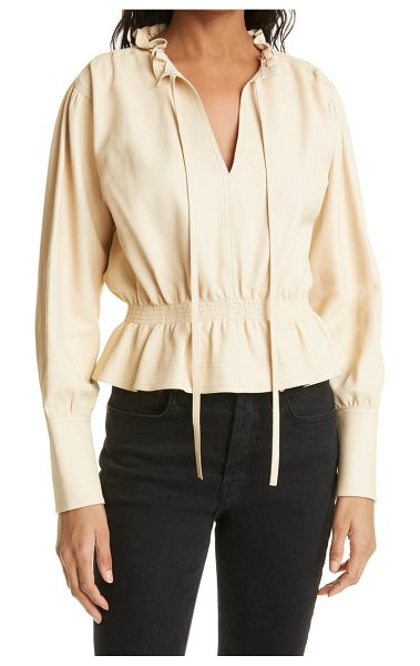 Rebecca Taylor glove leather blouse in beige