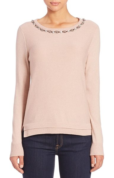 Rebecca Taylor Jewel-embellished wool & cashmere-blend sweater in nude - A sparkling jeweled and beaded neckline, a darling...