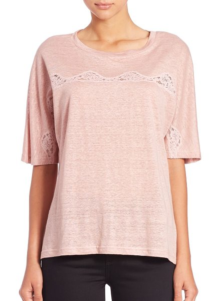 Rebecca Taylor Lace-inset linen tee in pink - The light and airy quality of this linen tee is...