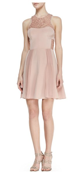 Rebecca Taylor Lace-inset pleated cocktail dress in blush rose - Sateen with lace-pattern insets at yoke and waist....