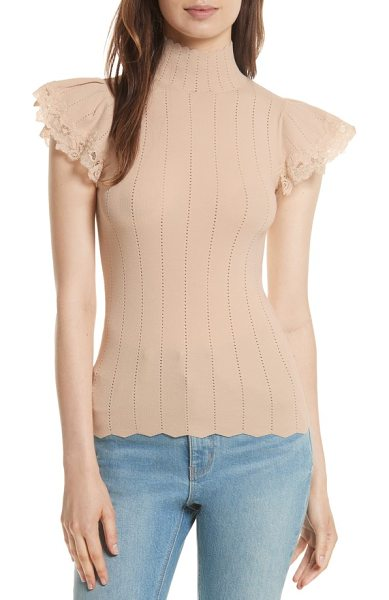 Rebecca Taylor lace trim pointelle top in latte - Flirty with a sophisticated edge, a knit top with...