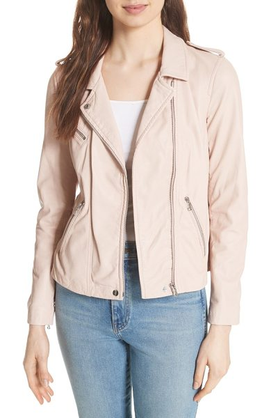 REBECCA TAYLOR leather moto jacket in nude - A neutral hue that works perfectly into this season's...