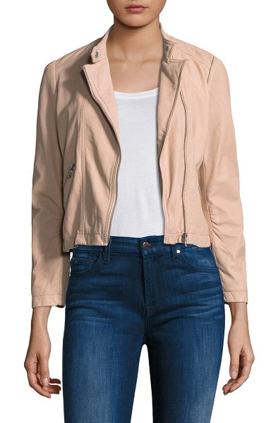 Rebecca Taylor leather moto jacket in beige - Leather moto jacket in cropped silhouette. Stand collar....