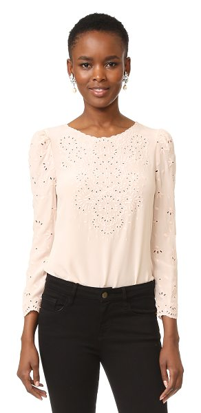 Rebecca Taylor long sleeve eyelet top in putty - Intricate eyelet embroidery details this silk Rebecca...