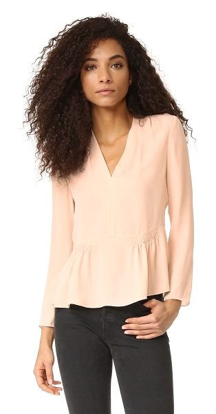 Rebecca Taylor long sleeve georgette peplum top in ballet - Delicate smocked panels detail the peplum hem on this...