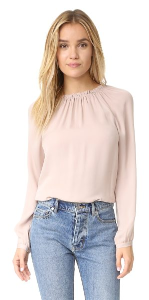 Rebecca Taylor long sleeve georgette ruffle top in pink champagne - Lightweight elastic gathers the neckline on this breezy...
