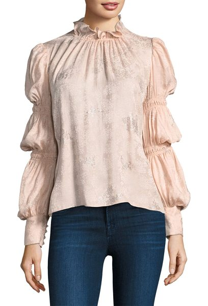 Rebecca Taylor silk puffy sleeve top in ballet silver - Shirred silk top with glitter pattern. Mockneck. Long...