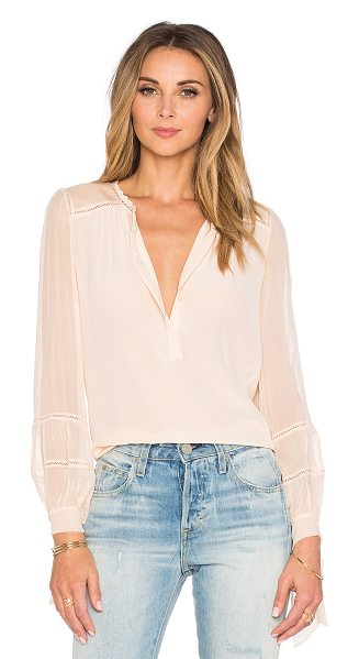 Rebecca Taylor Long sleeve silk & lace top in beige - 100% silk. Dry clean only. Partial front button closure....