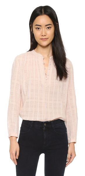 Rebecca Taylor Long sleeve top in vanilla - A feminine Rebecca Taylor top with thin metallic stripes...