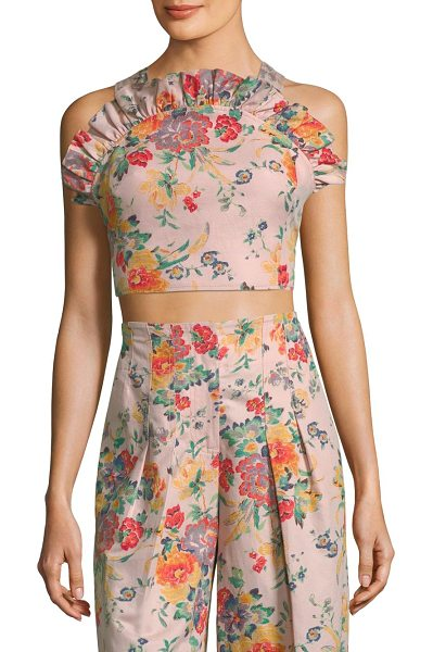 REBECCA TAYLOR marlena floral ruffled cropped top in dusty rose - Floral printed top in cropped silhouette. Ruffle...