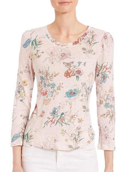 Rebecca Taylor meadow jersey floral-print top in pink combo - Charming top with whimsical floral patterns. Round...