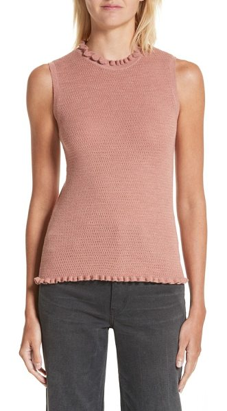 Rebecca Taylor merino wool sweater tank in maple rose - Frilly crewneck and hemlines add a touch of demure...