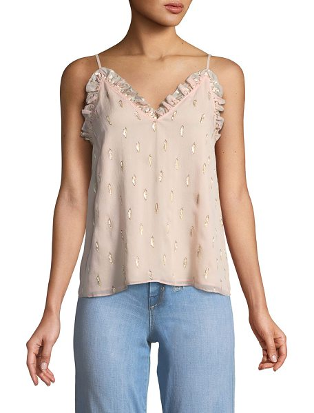 Rebecca Taylor Metallic Clip Ruffle Cami Top in light pink - Rebecca Taylor cami with metallic clip details. V...