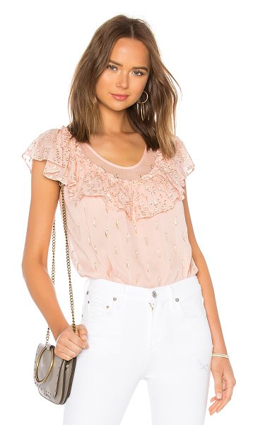 Rebecca Taylor Metallic Clip Top in pink - Silk blend. Dry clean only. Metallic thread detail...