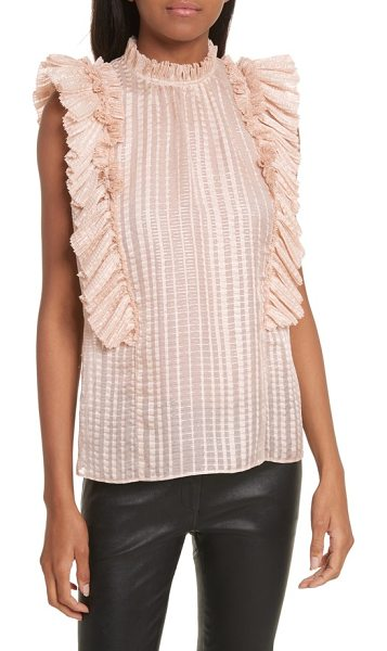 Rebecca Taylor metallic plaid silk ruffle top in parfait - Pleated ruffles add effusive volume to the sleeveless...
