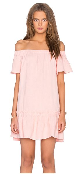 Rebecca Taylor Off The Shoulder Gauze Dress in peach - Cotton blend. Hand wash cold. Unlined. Elastic neckline....