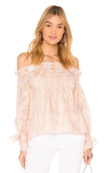 Rebecca Taylor Off the Shoulder Top in parfait - Self: 51% silk 39% viscose 10% nylonBinding: 100%...