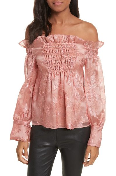 REBECCA TAYLOR off the shouler metallic floral organza blouse - Enriched with luxurious silk, this lavish blouse is...