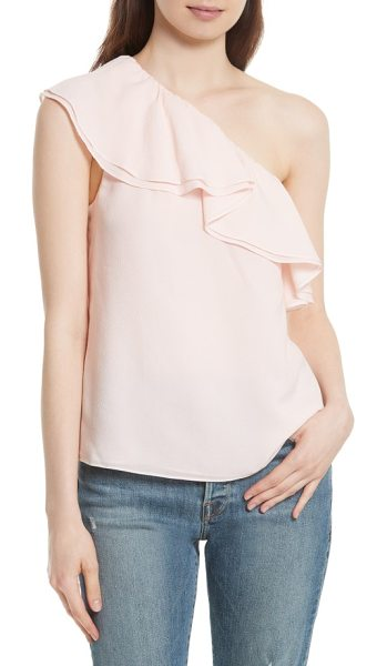 Rebecca Taylor one-shoulder silk top in misty rose - A layered ruffle cascading from the shoulder-baring...