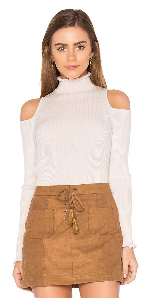 Rebecca Taylor Open Shoulder Ribbed Pullover in blush - 100% wool. Hand wash cold. Shoulder cut-outs. Rib knit...