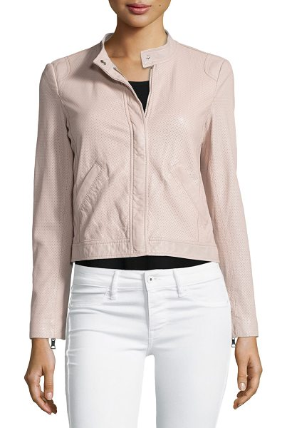 Rebecca Taylor Perforated leather motorcycle jacket in sheer pink - Rebecca Taylor motorcycle jacket in perforated lamb...