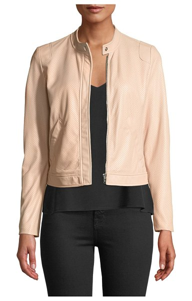 Rebecca Taylor Perforated Zip-Front Leather Jacket in pink - Rebecca Taylor jacket in lamb leather. Snap-tab collar;...
