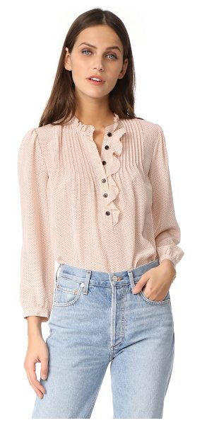 REBECCA TAYLOR pin dot ruffle top in nude - A dot print details this silk Rebecca Taylor blouse....
