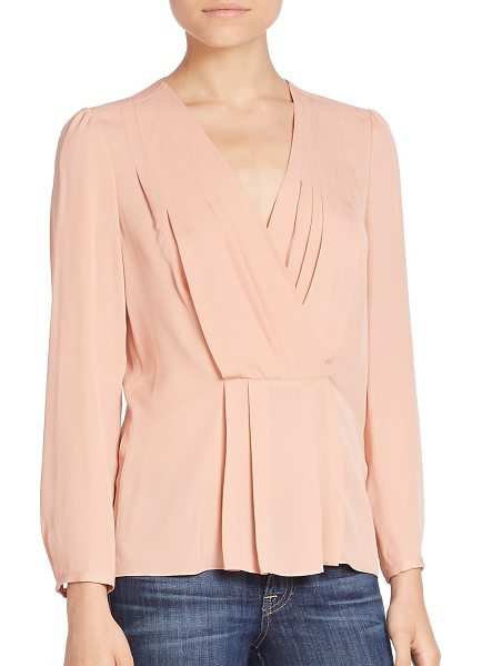 Rebecca Taylor pintucked silk top in nude - Graceful pintucking on a wrap style essential....