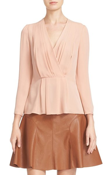 Rebecca Taylor pleated georgette faux wrap blouse in nude - Graceful pleats release at the surplice neckline and...