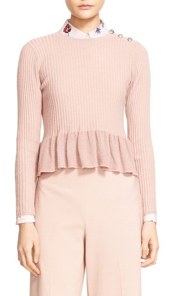 REBECCA TAYLOR rib knit peplum pullover - A trio of embossed buttons gleams softly at one shoulder...