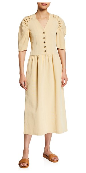 Rebecca Taylor Ruched Faille Midi Dress in buttercream