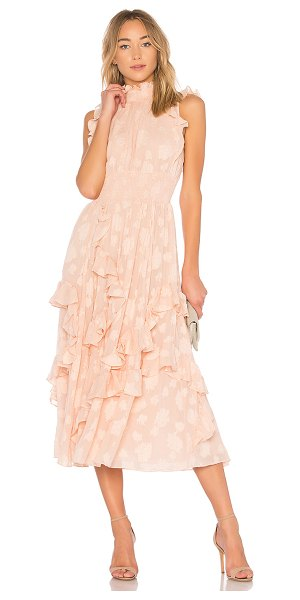 Rebecca Taylor Ruffle Gown in pink - Self: 55% silk 30% cotton 15% metallicContrast: 100%...