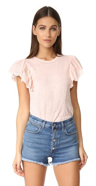 Rebecca Taylor ruffle tee in ballet - Charming eyelet material forms the short flutter sleeves...