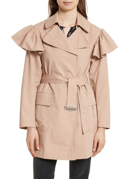 Rebecca Taylor ruffle trim trench coat in dune - A wrap-front trench of stretch-cotton faille gets a...