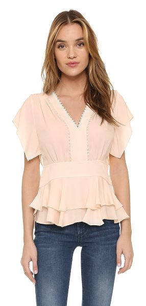 Rebecca Taylor Ruffled v neck top in light pink - A ladylike Rebecca Taylor blouse, styled with petite pom...