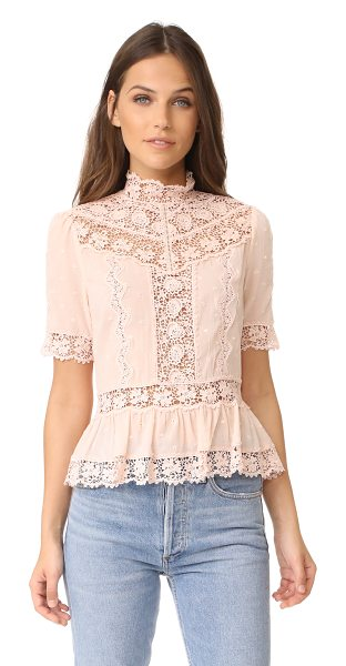 Rebecca Taylor short sleeve eyelet top in ballet - Lace insets and tonal embroidery bring romantic style to...