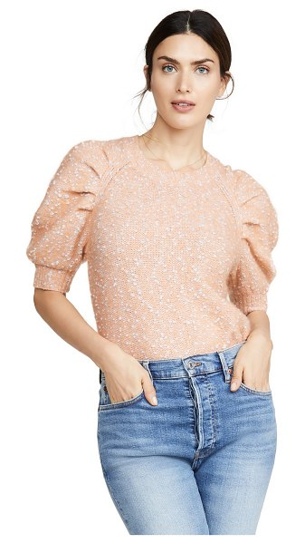 Rebecca Taylor short sleeve optic tweed pullover in peach