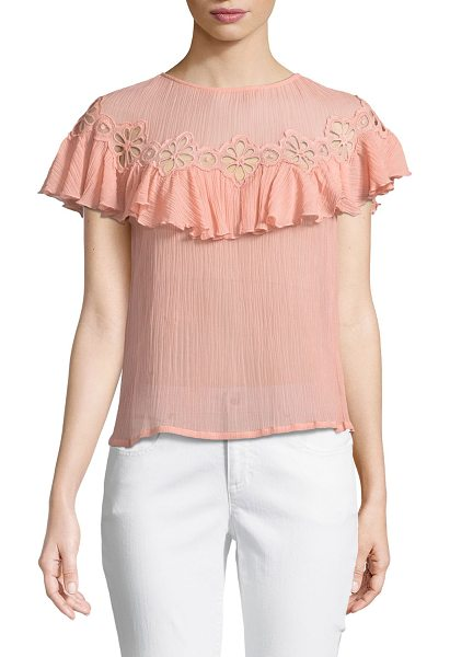 REBECCA TAYLOR Short-Sleeve Pinwheel Eyelet Ruffle Top - Rebecca Taylor pinwheel eyelet top with ruffle trim. Round...