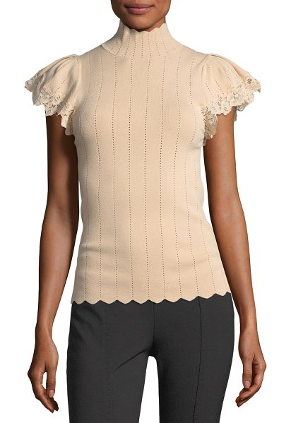 Rebecca Taylor Short-Sleeve Pointelle Scalloped Lace Top in beige - Rebecca Taylor pointelle top with scalloped edges and...