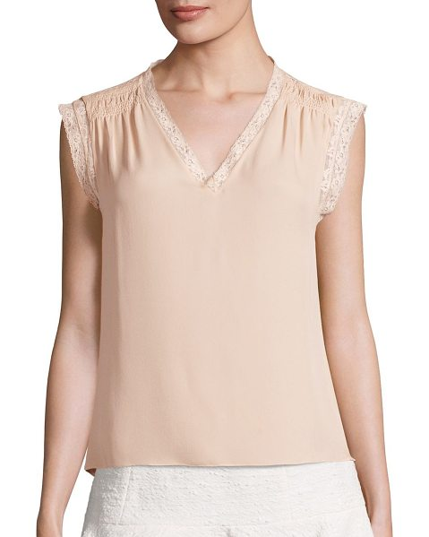 REBECCA TAYLOR silk georgette lace top - Luxurious smocked silk top with floral lace trim.V-neck....