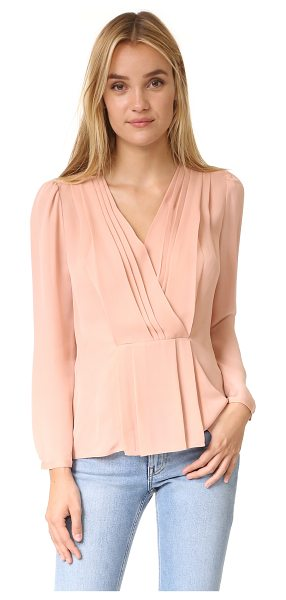 REBECCA TAYLOR silk wrap top - Pleats accent the plunging neckline on this elegant,...
